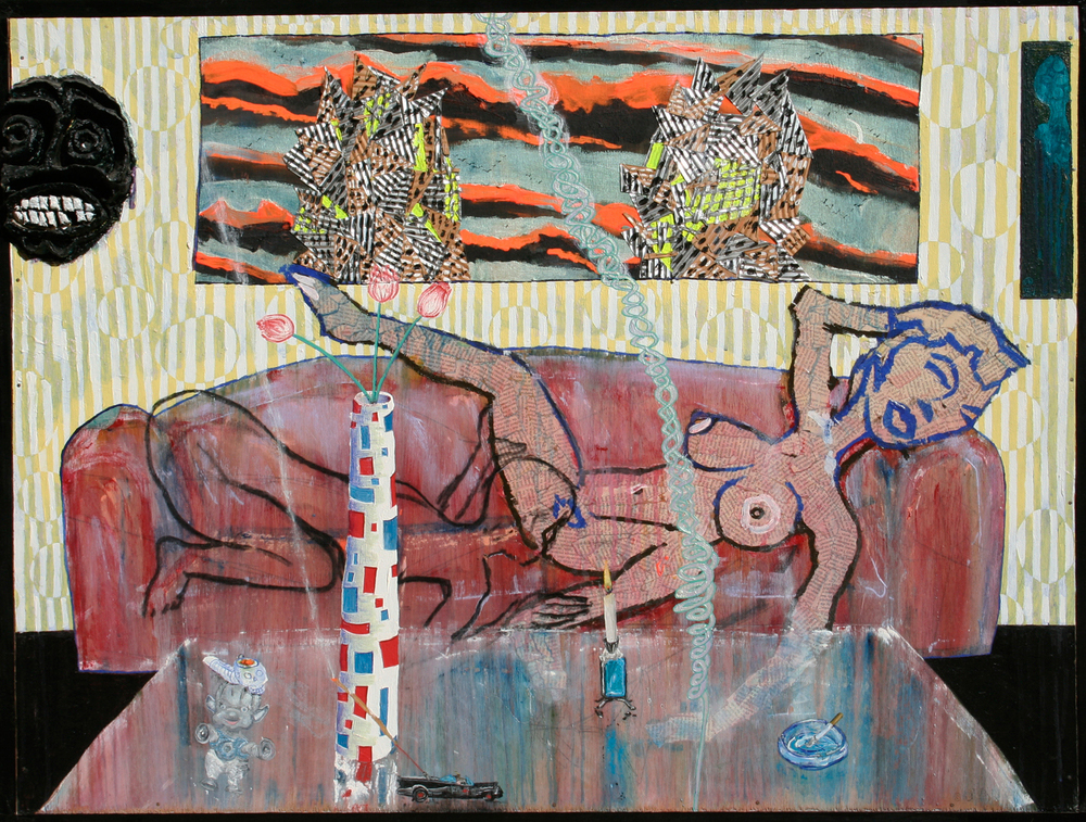 """Sofa,"" 48' x 36"", aluminum, acrylic, celluclay, charcoal and collaged text on wood, ©1995"