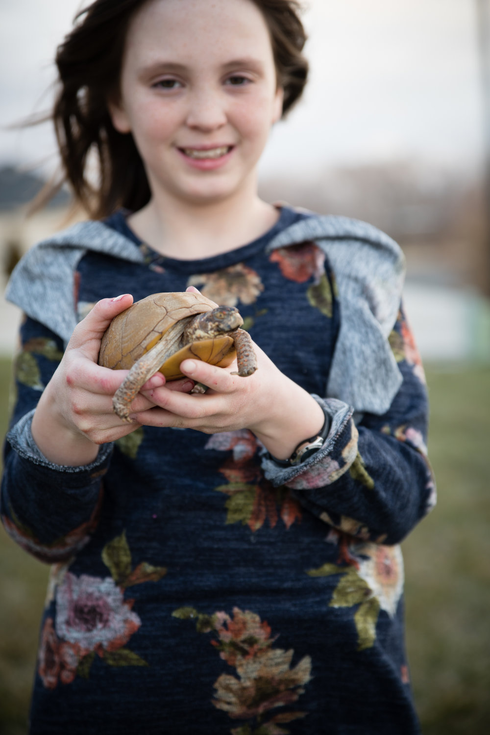 Regan and her pet turtle, Shelby