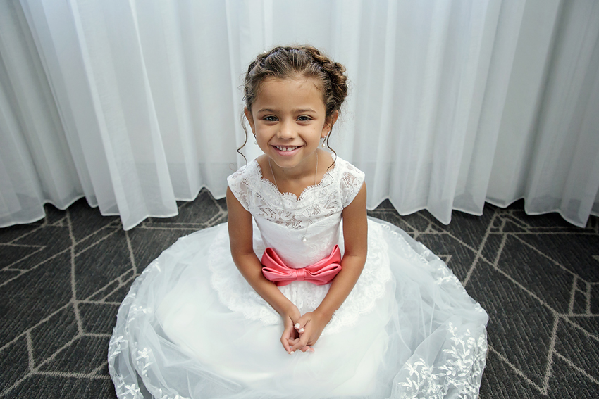 Look at this adorable flower girl. Daughter of the bride and groom. Renaissance Providence Downtown Hotel