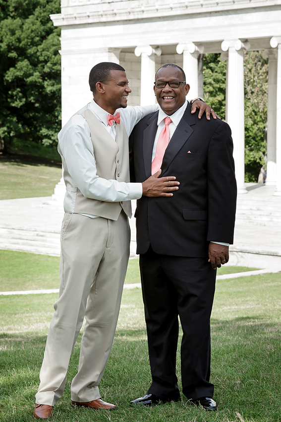 I do have a lovely photograph of the Groom and his Dad looking perfectly at the camera. I really feel that this photograph captures their close relationship much better.