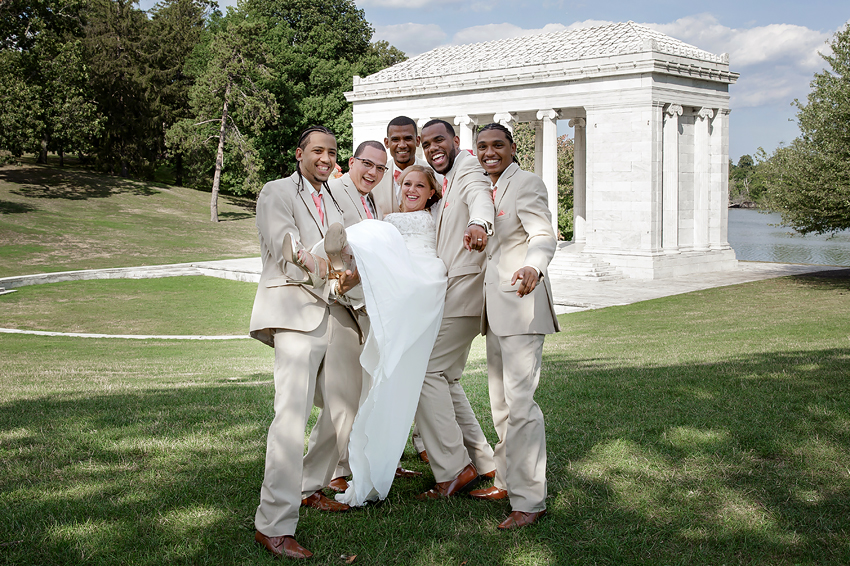 Why do the Groomsmen always want to lift the Bride and scare the crap out of her? She was a great sport at Roger Williams Park in Providence, Rhode Island.