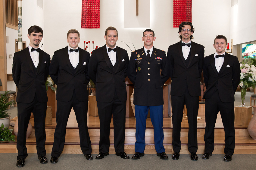 Here's the groom and groomsmen waiting to get started at Christ the King Parish in Kingston, Rhode Island.