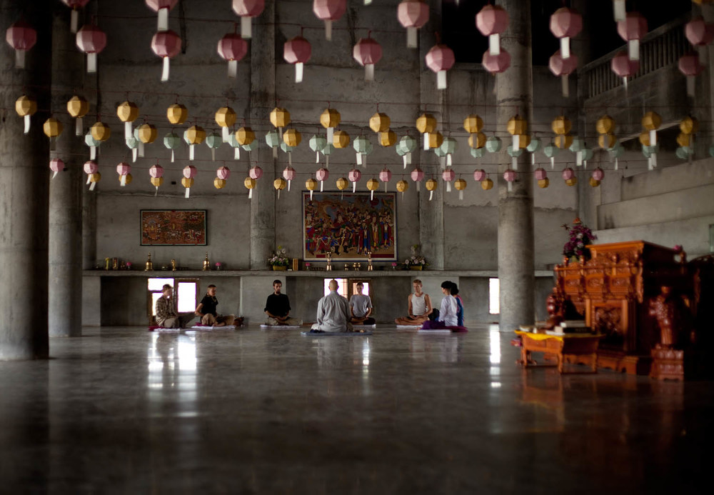 Meditation-class-Korean-monestary-lanterns-lumbini-nepal-asia-travel