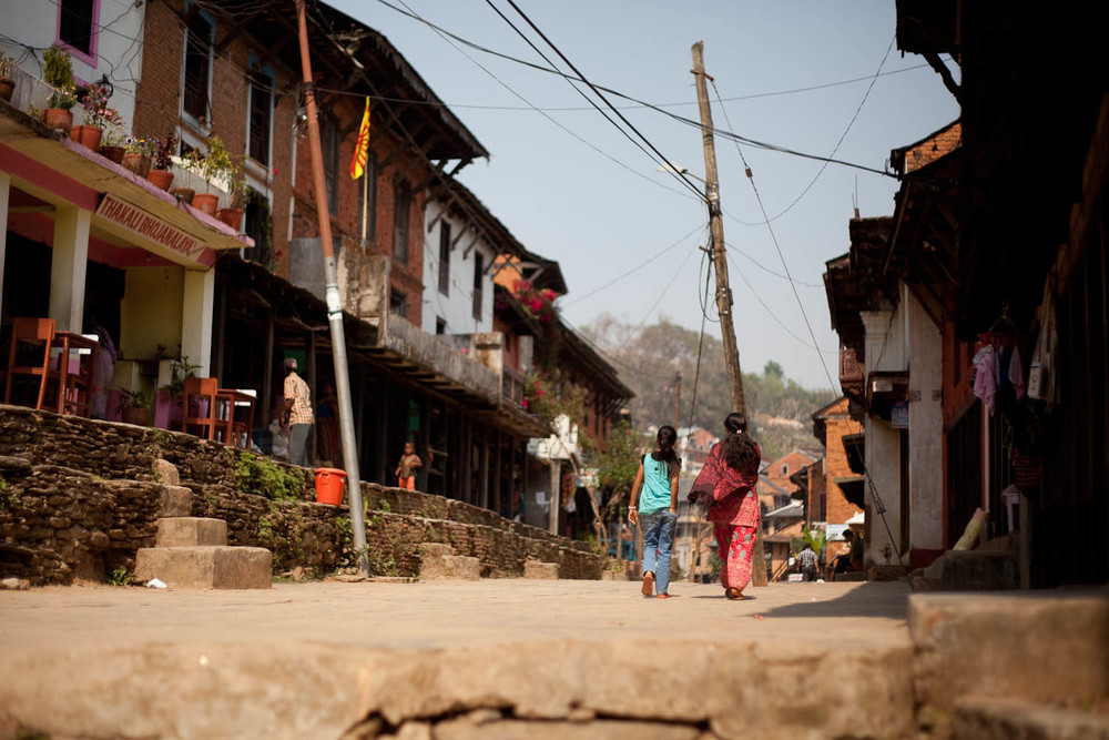 Street life in Bandipur mountain village in Nepal