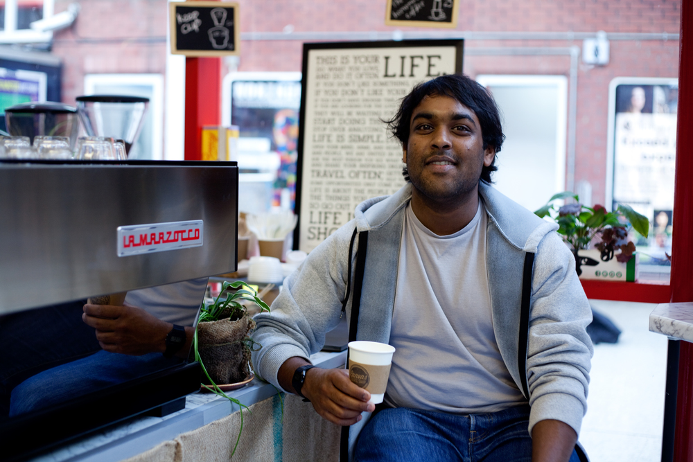 Pravin; owner of Canvas Coffee Shop, Southsea, for The School of Social Enterprise. Business Headshot Photography