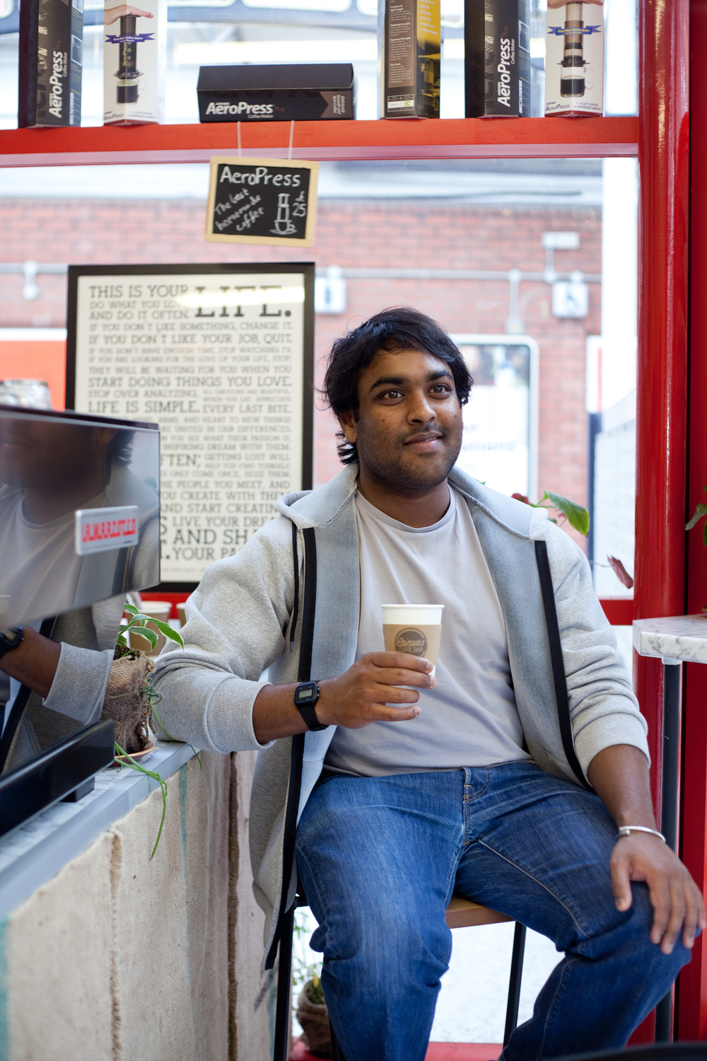 Pravin, Canvas Coffee Shop owner for the School of Social Enterprise. Manchester Portrait Photograph