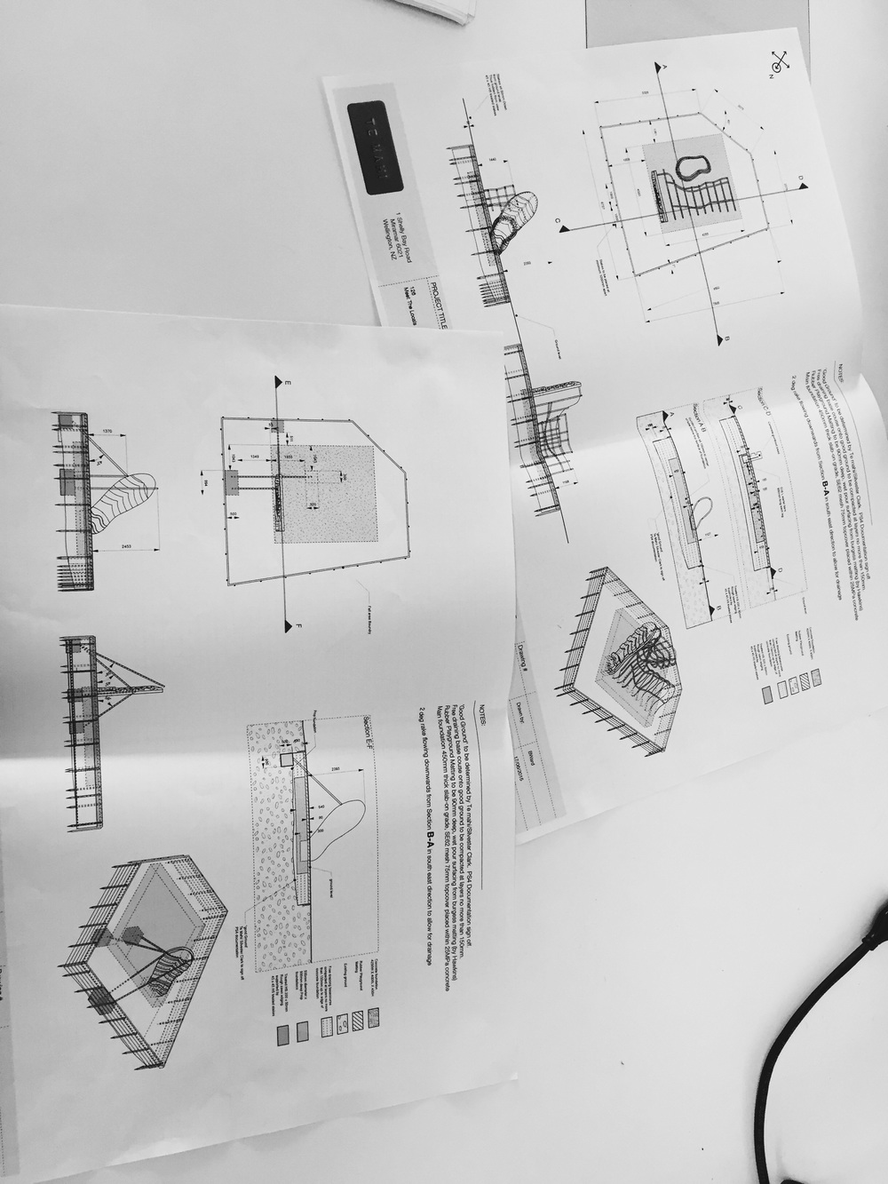 Engineering drawings for a gumboot playground at Wellington zoo