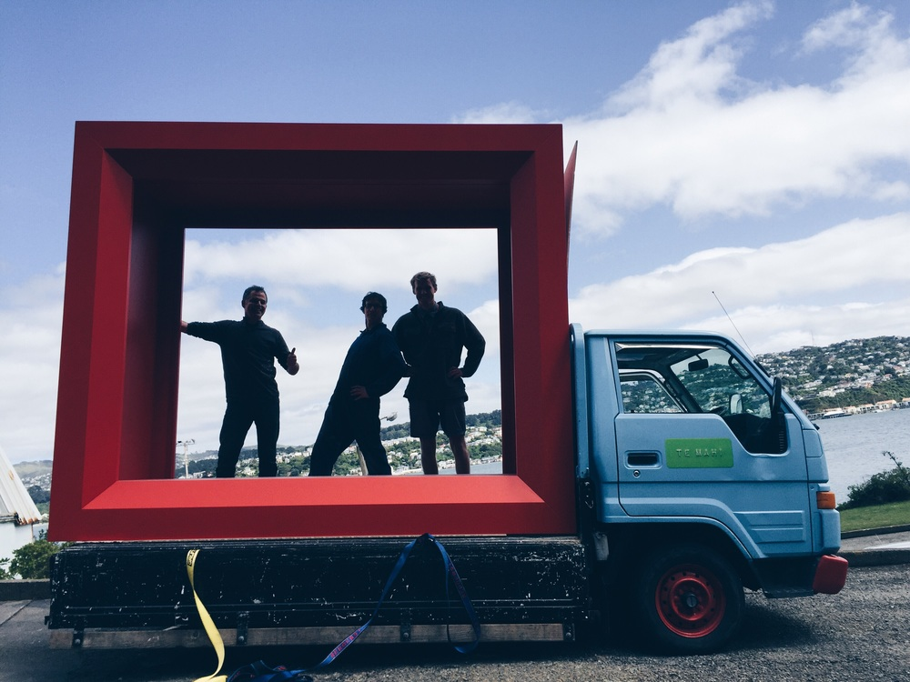 The boys off on a delivery to Te papa with some large picture frames