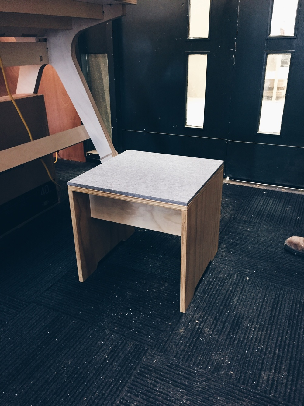 small stools for an interactive area in the exhibition