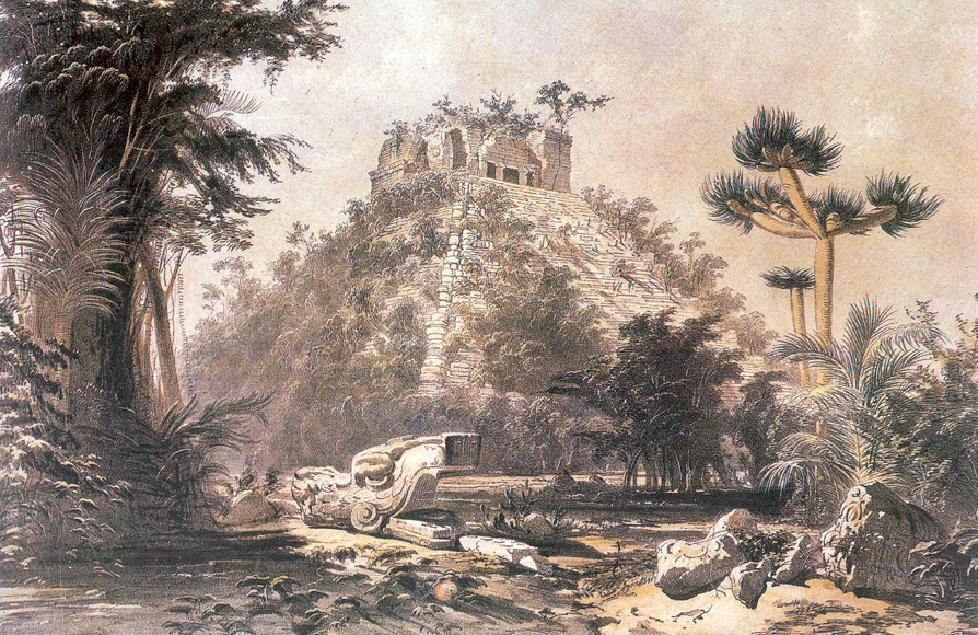 Lithograph of Chichén Itza by Frederick Catherwood, published in the 1840s.