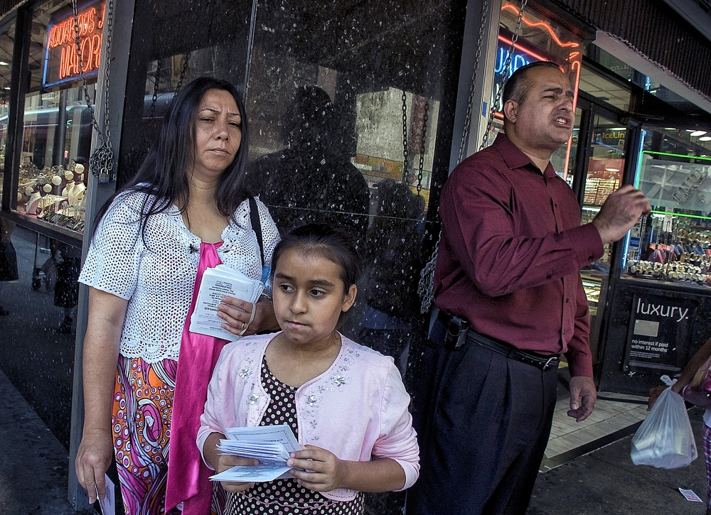 Street preacher and family