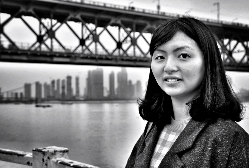 University student at Wuhan Yangtze River Bridge