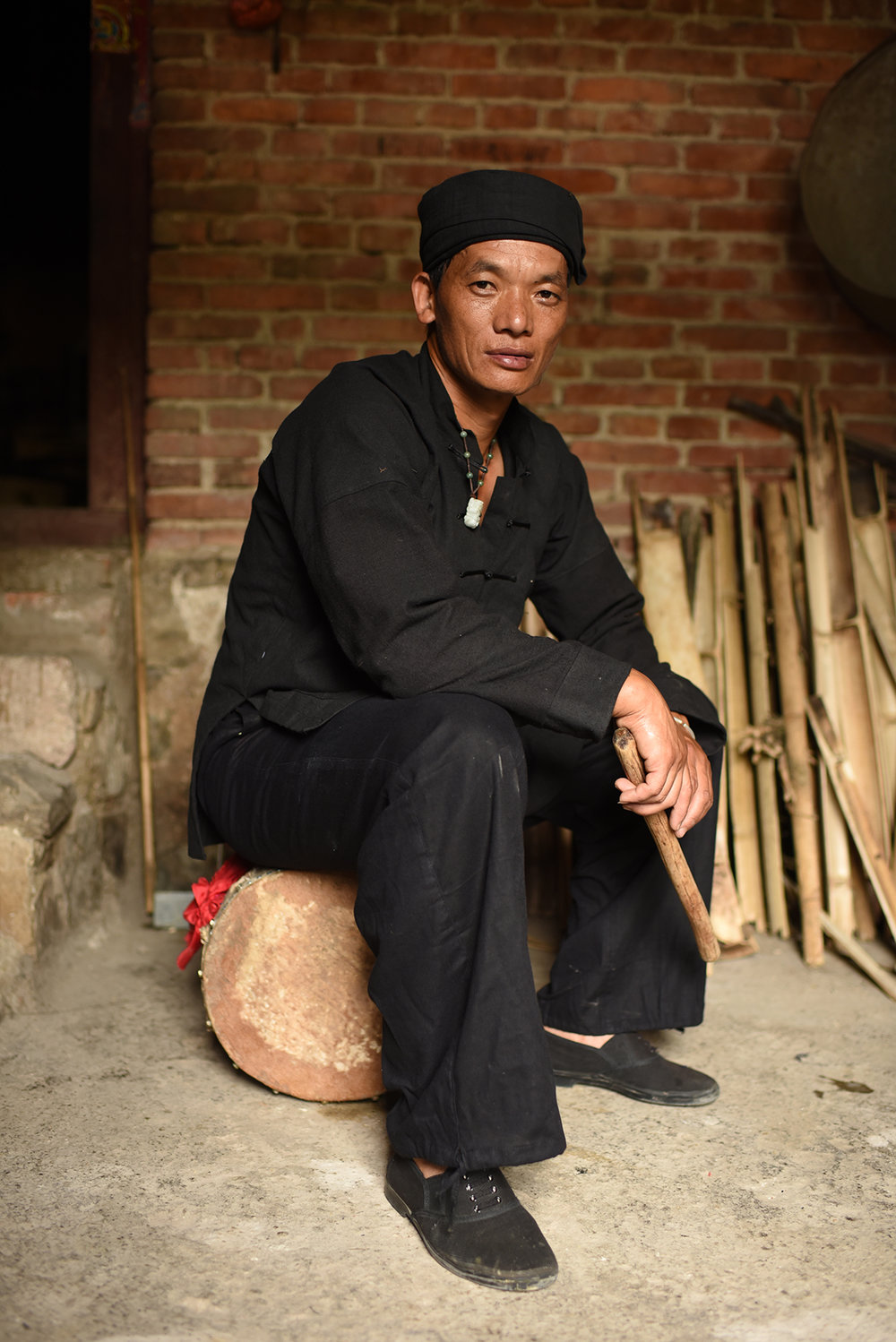 Inheritor of Mang Drum Dance Li Ke, Potuo village, Yunnan, 2017.