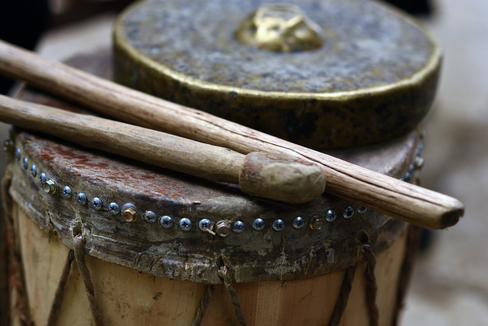 Mang Drum Dance instruments.
