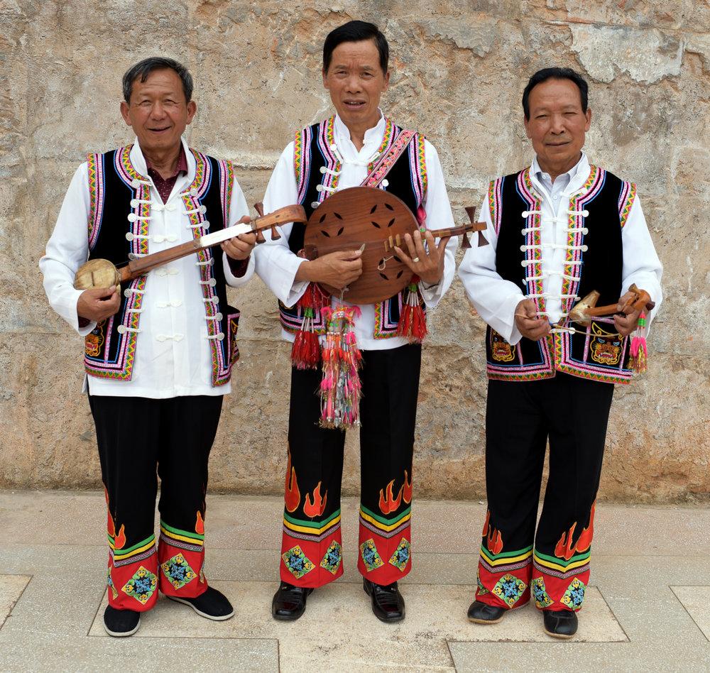 Yan He musicians and Yi costume design, Yang Wu village