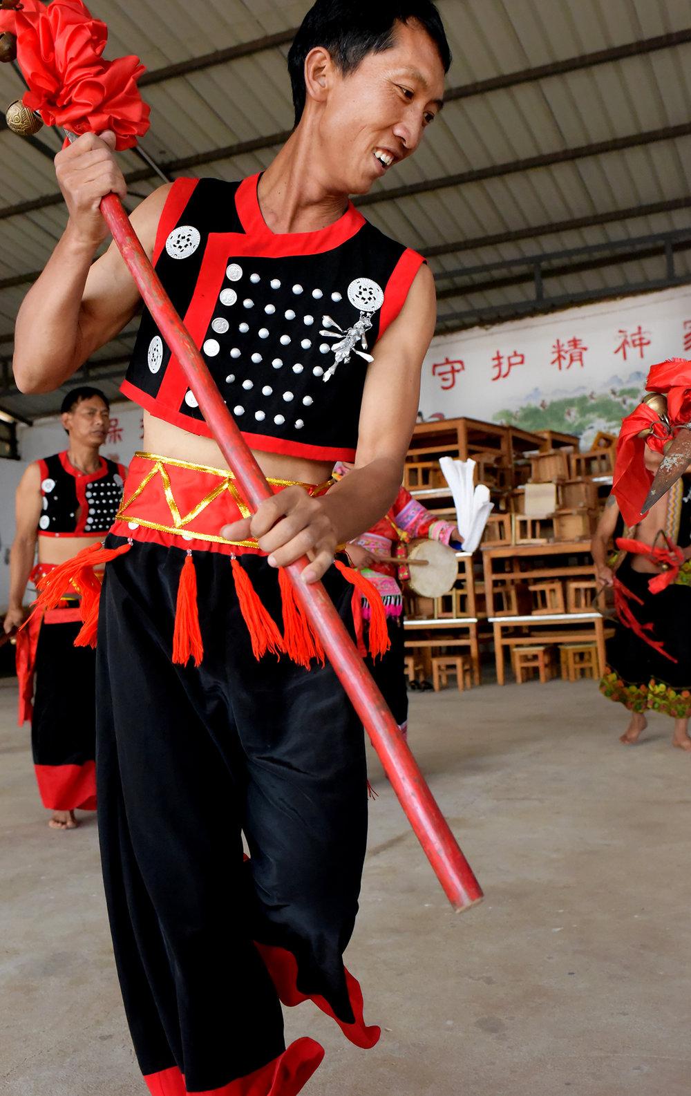 Hua Gu dance and costume design; Yi people of Mo Pi village