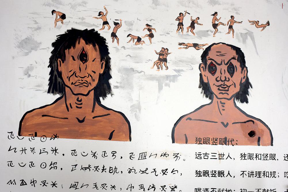 Hua Gu dance historical mural; Yi people of Mo Pi village