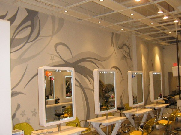 Zeal Hair Salon (Robson St.)  2007 9 feet x  25 feet acrylic on white wall  Commissioned