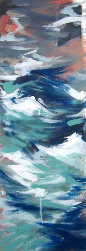 "Blue River  2012 12"" x 36"" Acrylic on Canvas  $700"