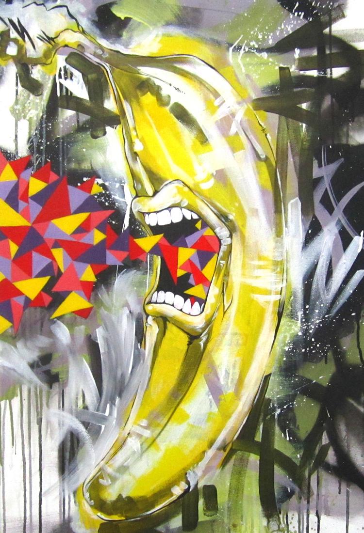 """B.A.N.A.N.A.  2011 24"""" x 36"""" acrylic on canvas  $700"""