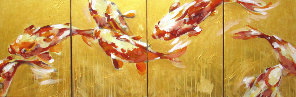 "Gold Bath  2012 12"" x 16""  (set of 4) Acrylic on Canvas   SOLD"