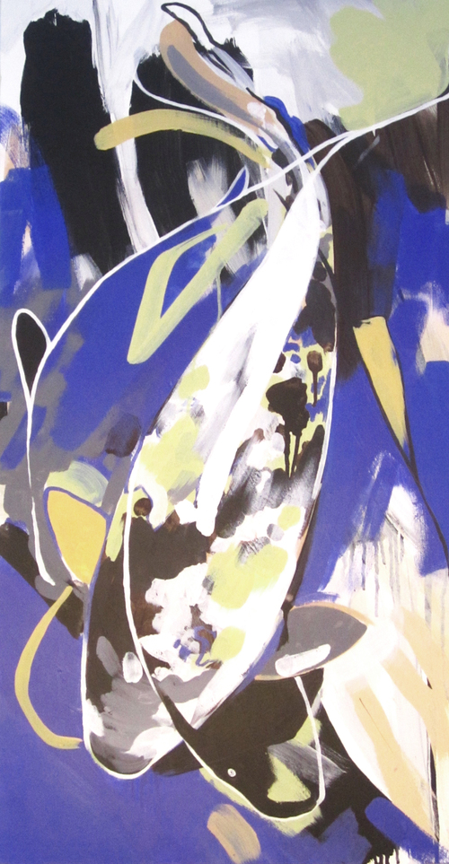 "L  Lively Blue  2012 18"" x 36"" Acrylic on Canvas  $850"