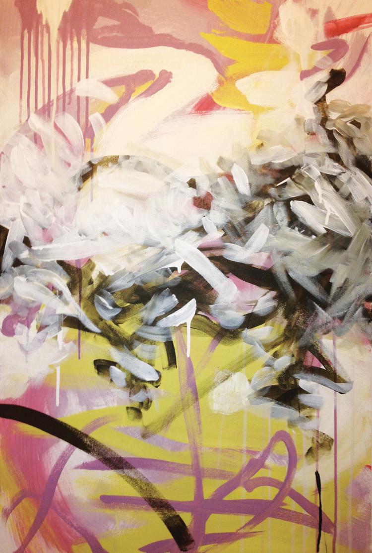 """Spring Rain  2010 24"""" x 36"""" acrylic on canvas  $700"""