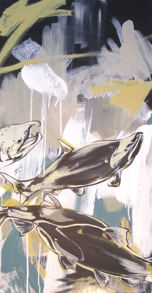 """Surface Waters  2012 18"""" x 36"""" Acrylic on Canvas  $850"""