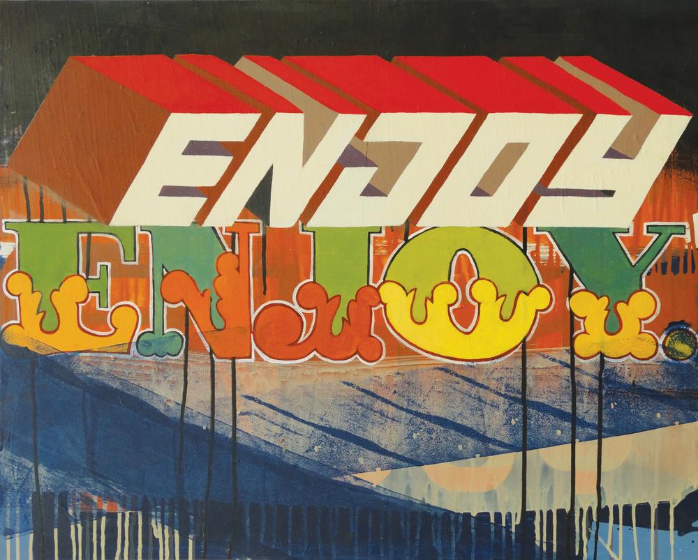 """Enjoy Enjoy  24"""" x 30""""Acrylic on Canvas  $ 750"""