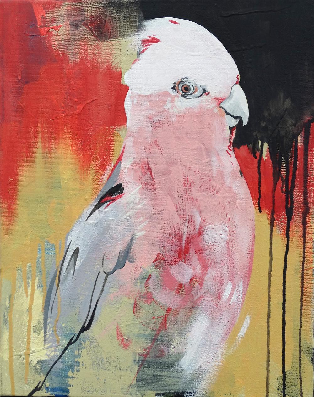 "Pink Bird   16"" x 20""Acrylic on Canvas  SOLD"
