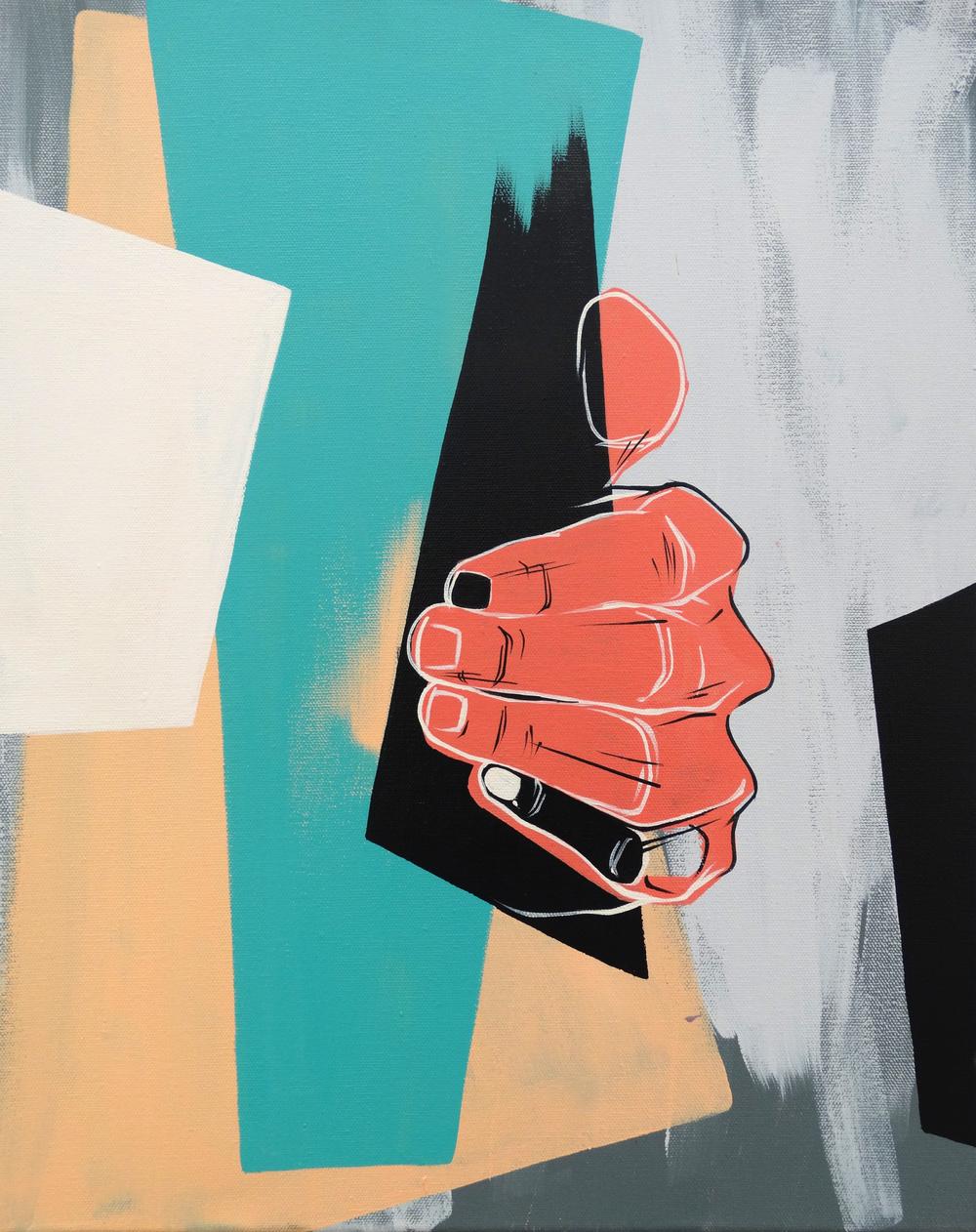 """Firm Grasp  16"""" x 20""""Acrylic on Canvas  $ 650"""