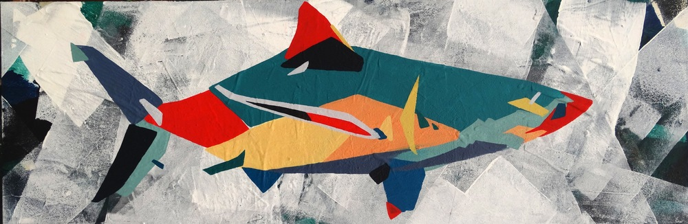 "Shark  12"" x 36""Acrylic on Canvas  $ 550"