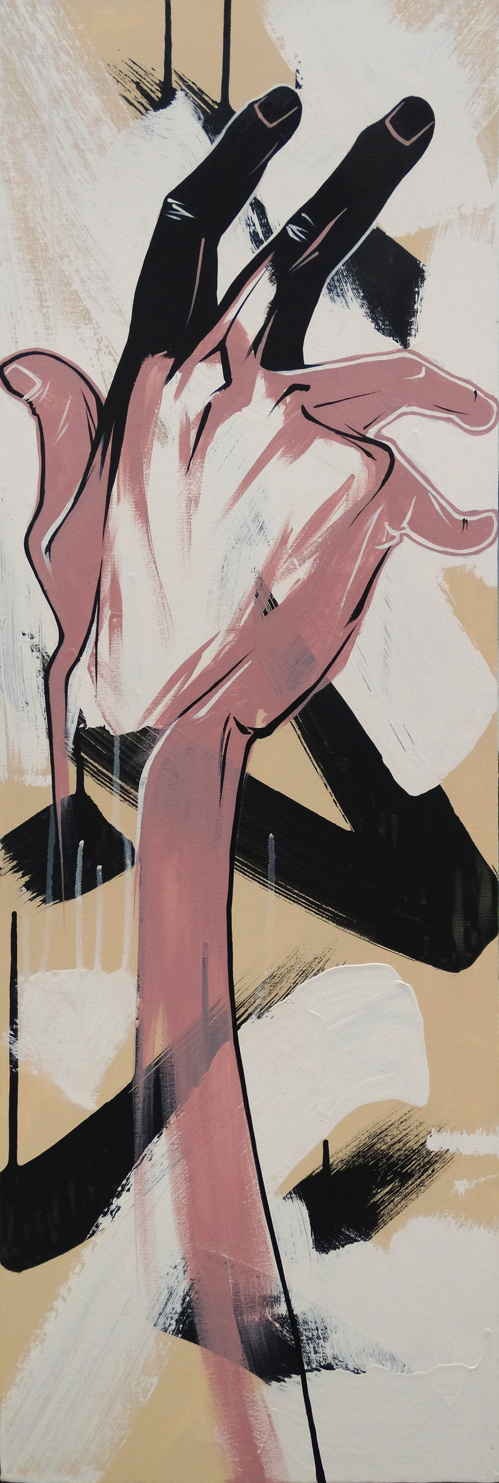 """Conflicted  12"""" x 36""""Acrylic on Canvas  $ 750"""