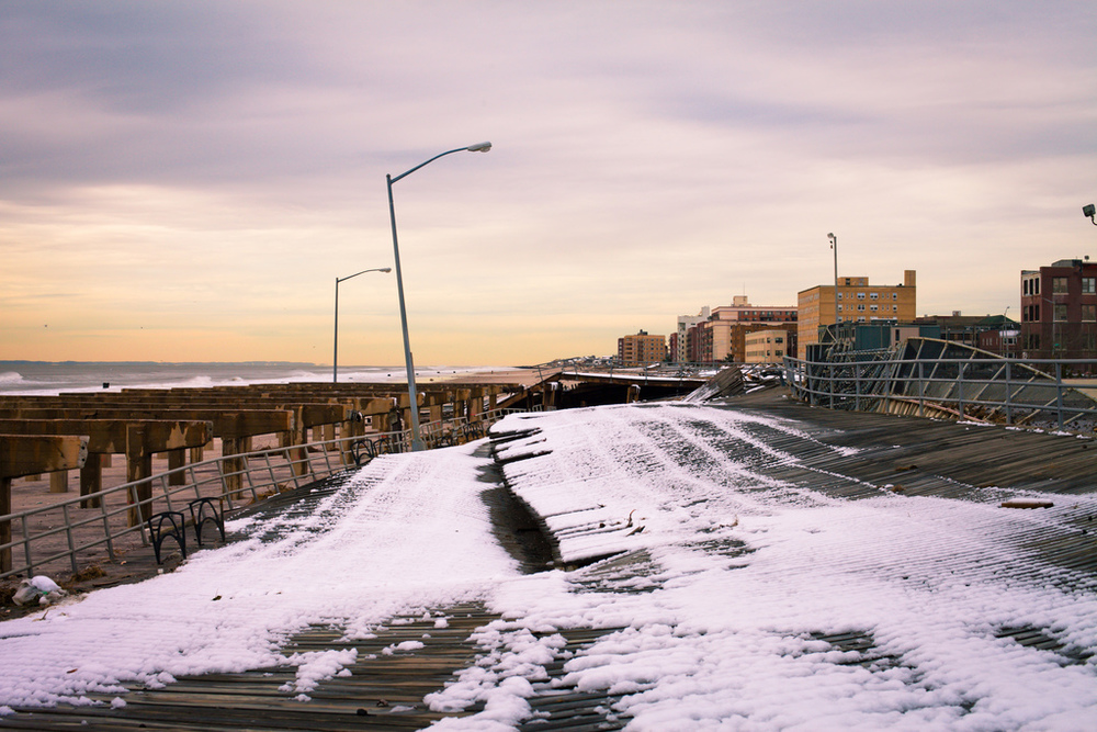 Photograph taken at Rockaway Beach after the snowstorm.