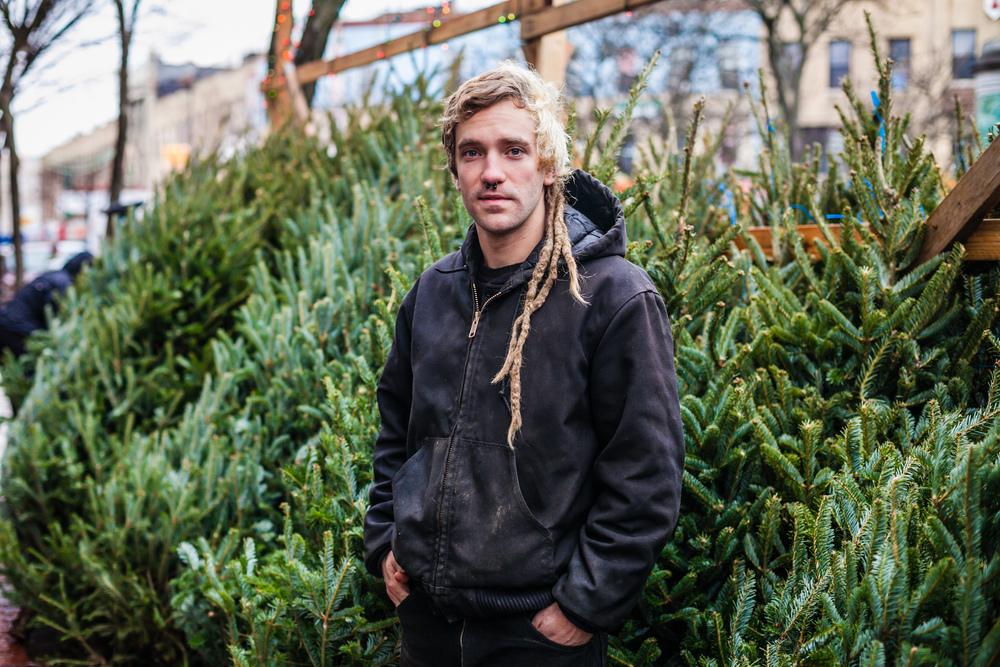 Portrait of Xmas Tree Vendor Cody in Ridgewood, Queens