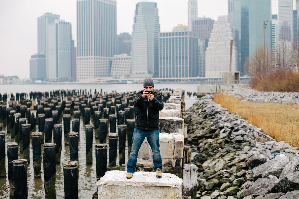 Jorge Quinteros caught instagramming at Fulton Ferry Park in Brooklyn