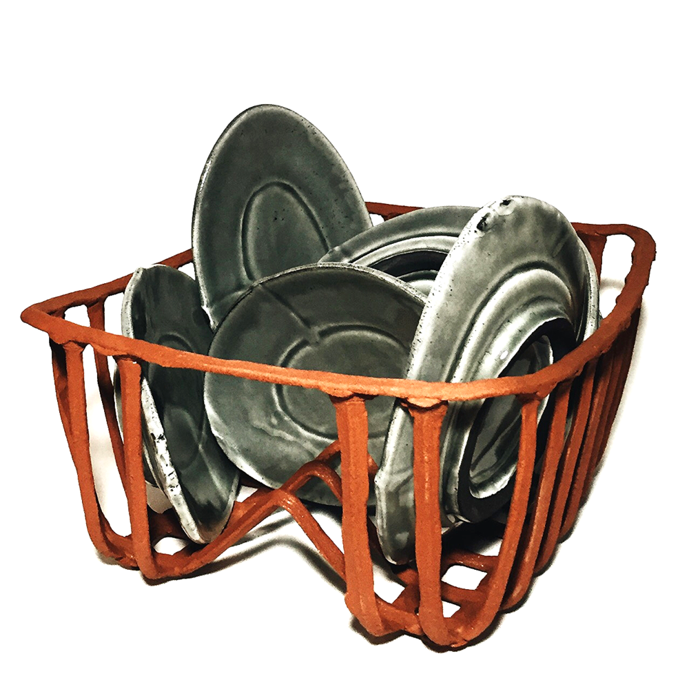 ready to use,2016.press-molded mica clay basket/ram-pressed, slipped and glazed plates