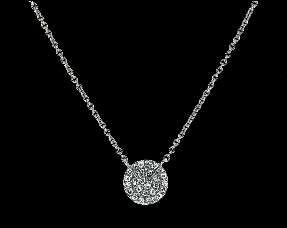 14k White Gold Pave Diamond Necklace