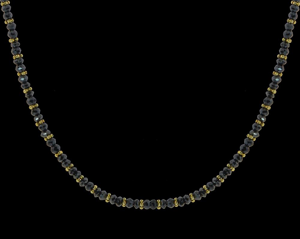 Black Diamonds with 14k Yellow Gold Rondelles