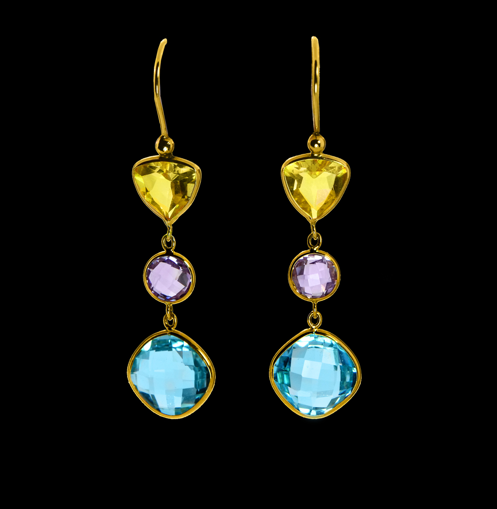 14k Yellow Gold Earrings with Citrine, Amethyst & Blue Topaz