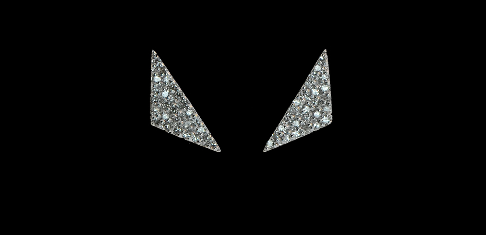 14K White Gold Diamond Pave Studs
