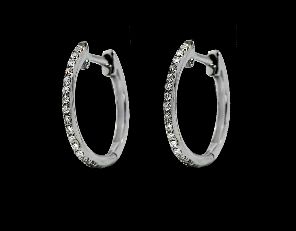 14K White Gold Pave Diamond Hoops