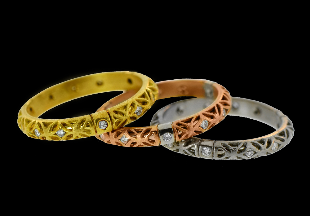 Textured Dual Finish Bands in 18k Yellow, Rose, & White Gold