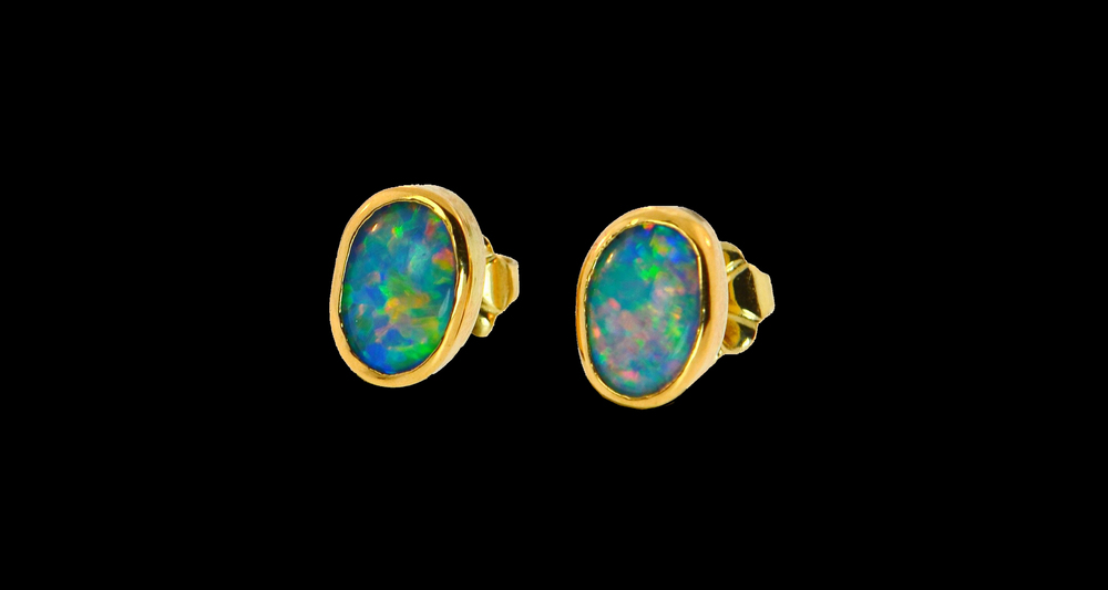 14k, 18k, 22k,  Yellow Gold Opal Studs