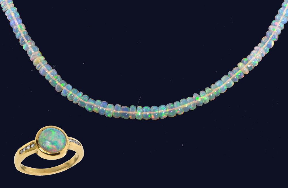 Beaded Opal necklace and Bezel set opal ring, 18k yellow gold & diamonds