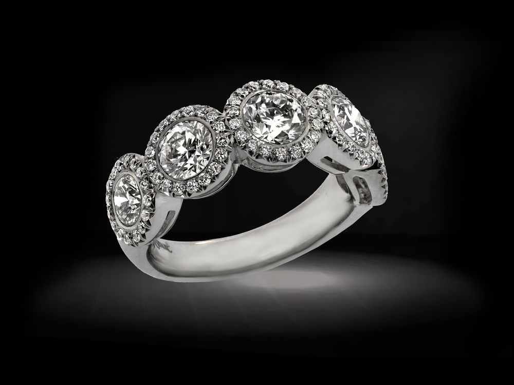 Platinum Diamond  Halo Wedding Ring