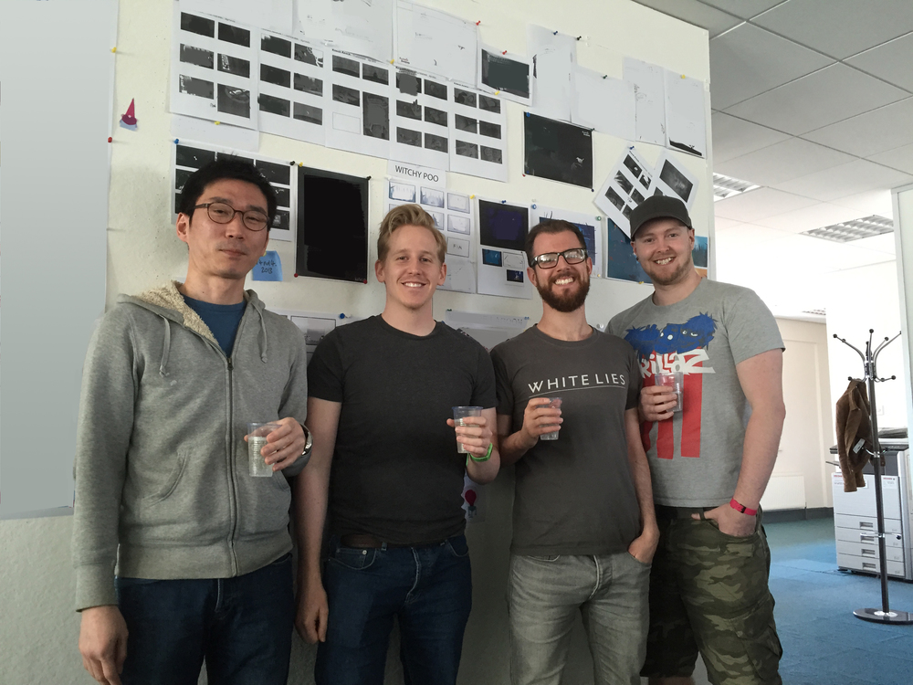 Seyhun, David, James and Craig... top drawer animators in front of the secret wall!