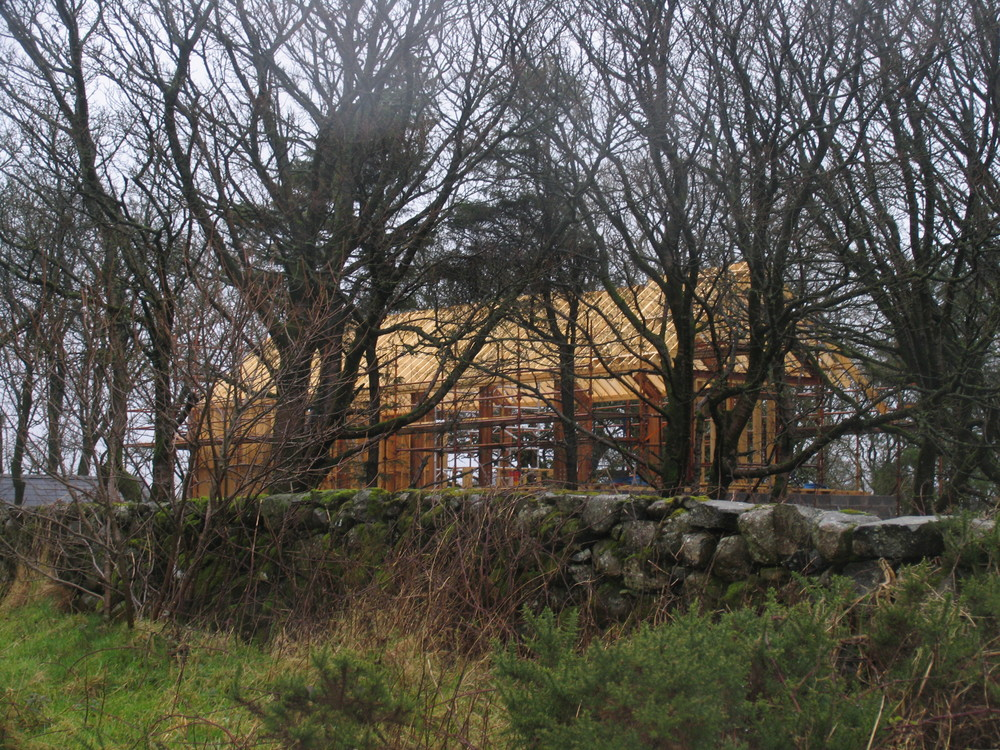 first glimpses of house through trees on approach from doonan lane