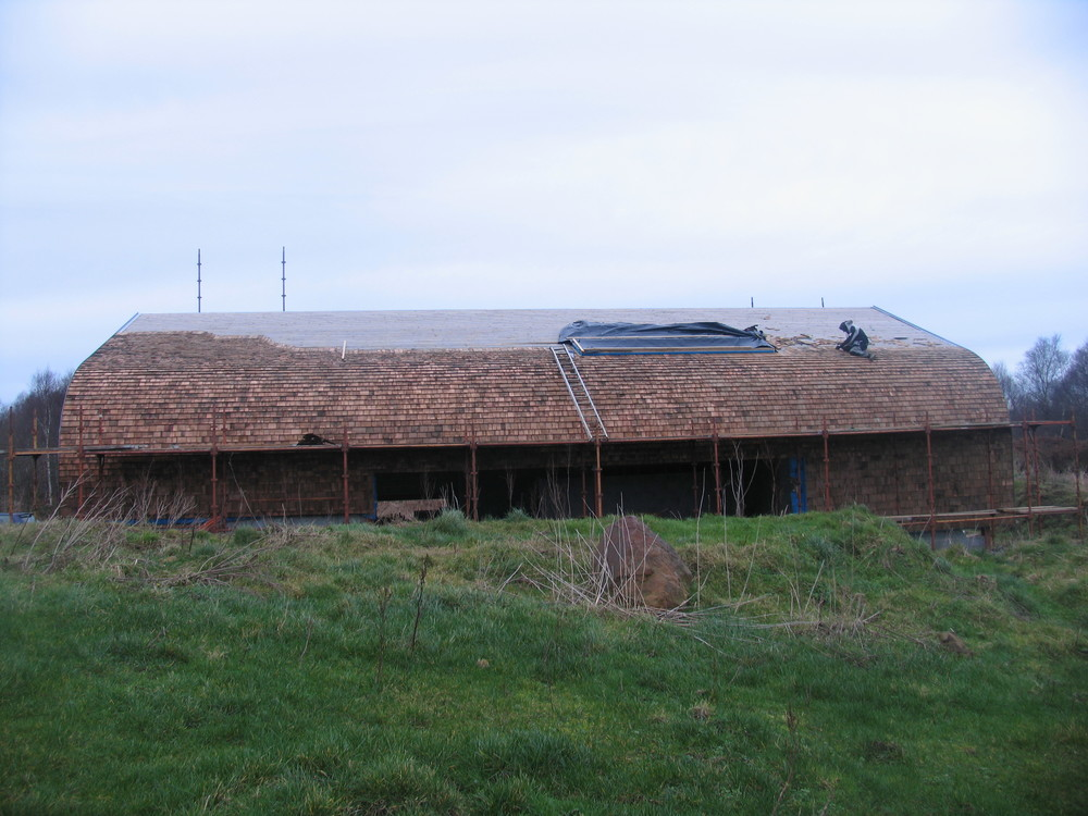 photo from the south showing extent of cedar shingles.
