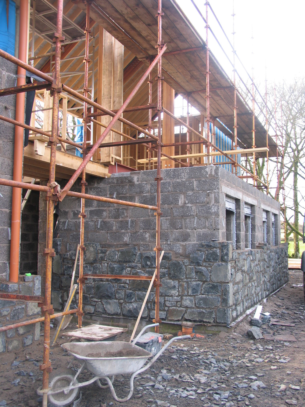 stone and scaffold